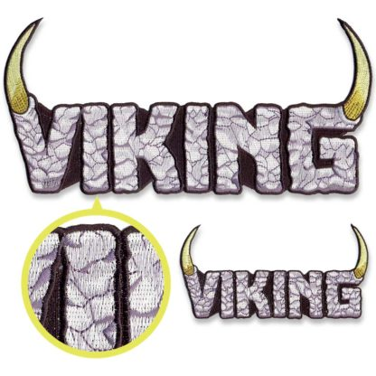 Detail of Viking logo embroidered patches